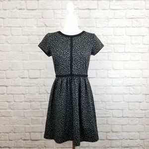 Loft gray black animal print short sleeve dress
